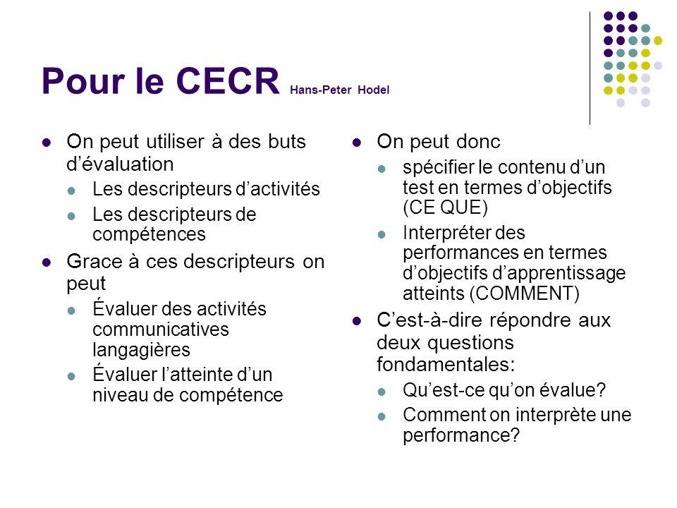 Pour le CECR Hans-Peter Hodel