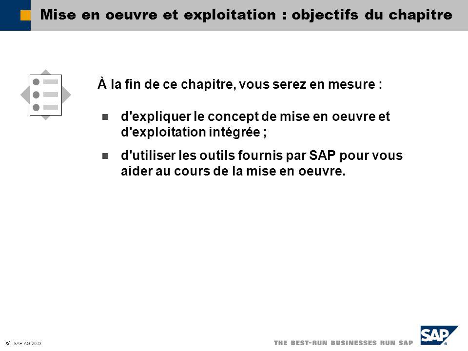 Mise en oeuvre et exploitation : objectifs du chapitre