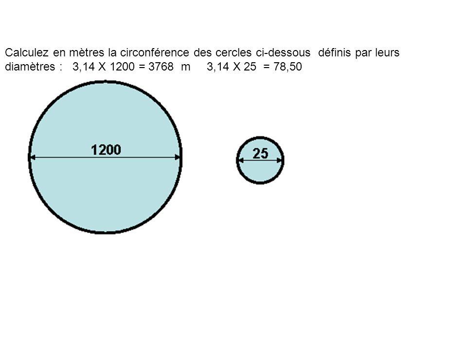 Calculez en mètres la circonférence des cercles ci-dessous définis par leurs diamètres : 3,14 X 1200 = 3768 m 3,14 X 25 = 78,50