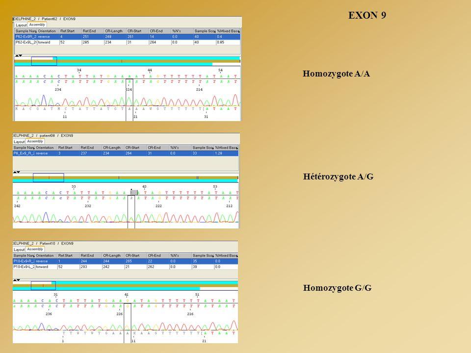 EXON 9 Homozygote A/A Hétérozygote A/G Homozygote G/G