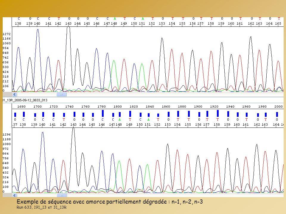 Exemple de séquence avec amorce partiellement dégradée : n-1, n-2, n-3