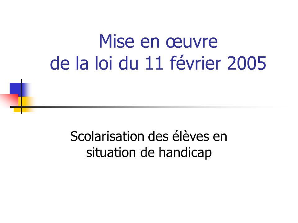 Mise en œuvre de la loi du 11 février 2005
