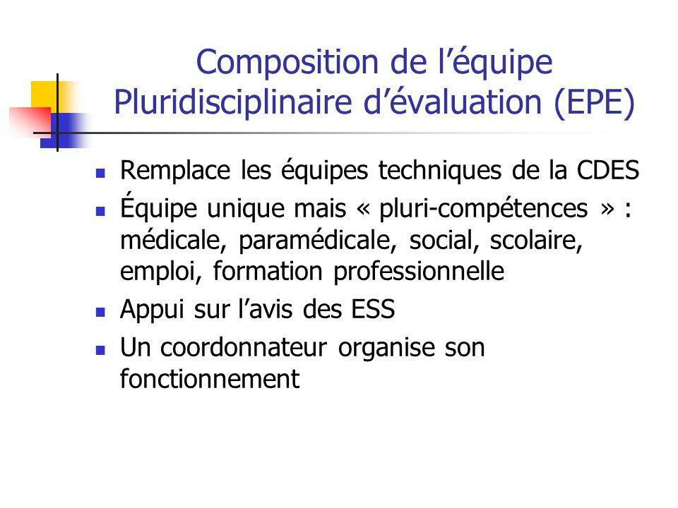 Composition de l'équipe Pluridisciplinaire d'évaluation (EPE)