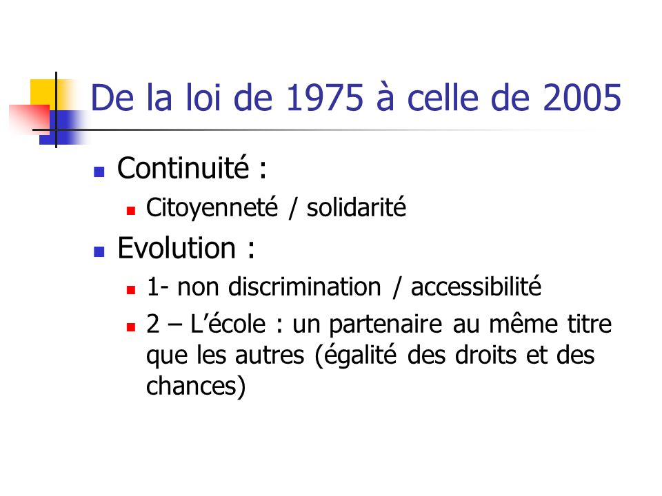 De la loi de 1975 à celle de 2005 Continuité : Evolution :