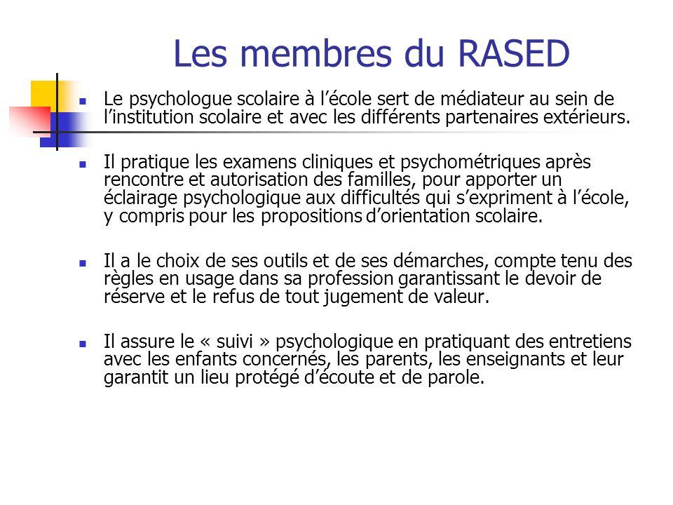 Les membres du RASED