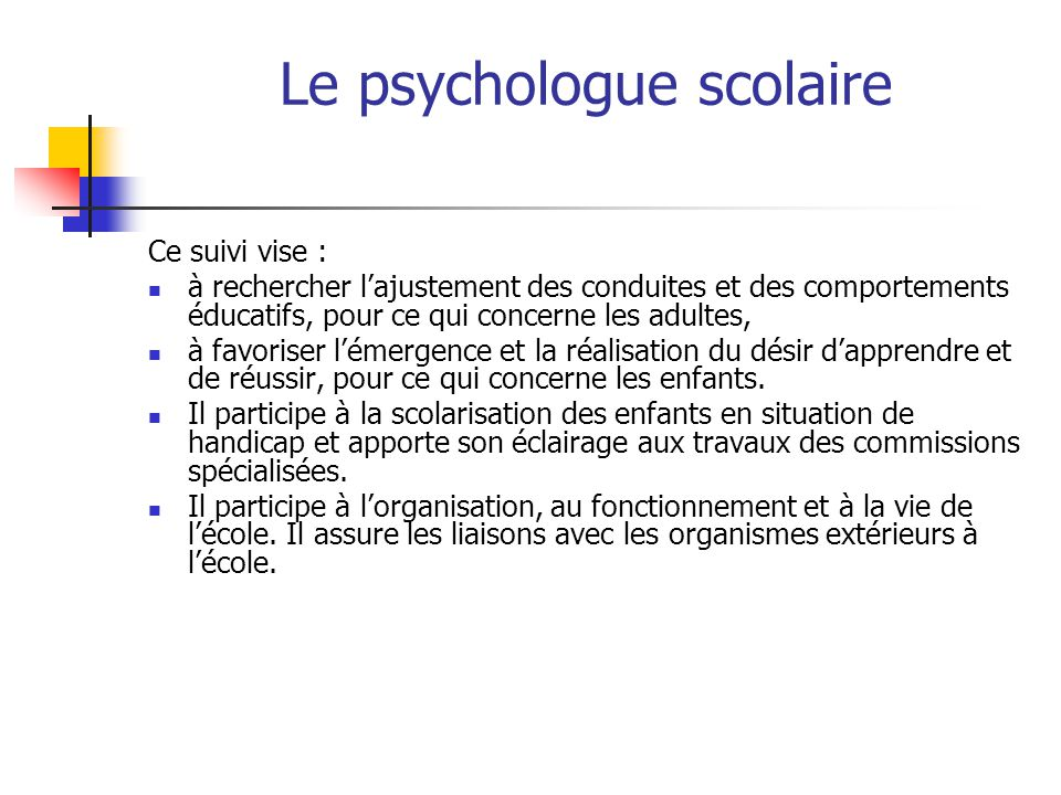 Le psychologue scolaire