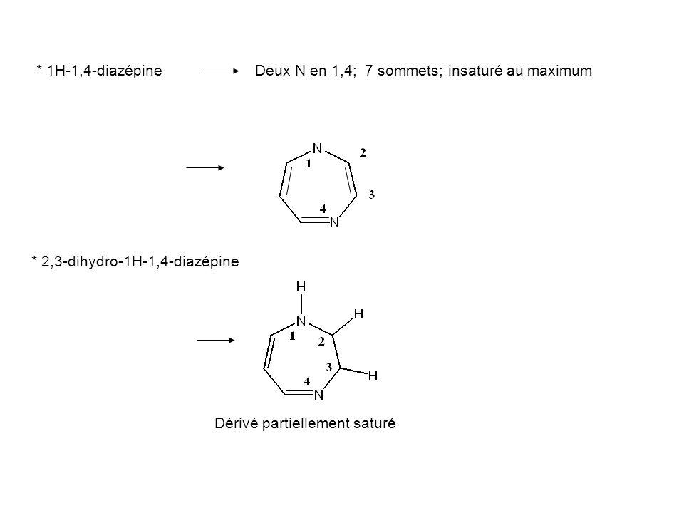 * 1H-1,4-diazépine Deux N en 1,4; 7 sommets; insaturé au maximum. * 2,3-dihydro-1H-1,4-diazépine.