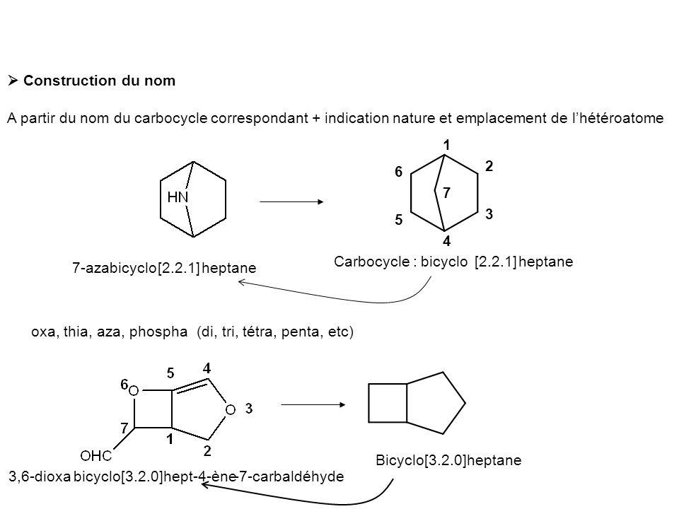  Construction du nom A partir du nom du carbocycle correspondant + indication nature et emplacement de l'hétéroatome.