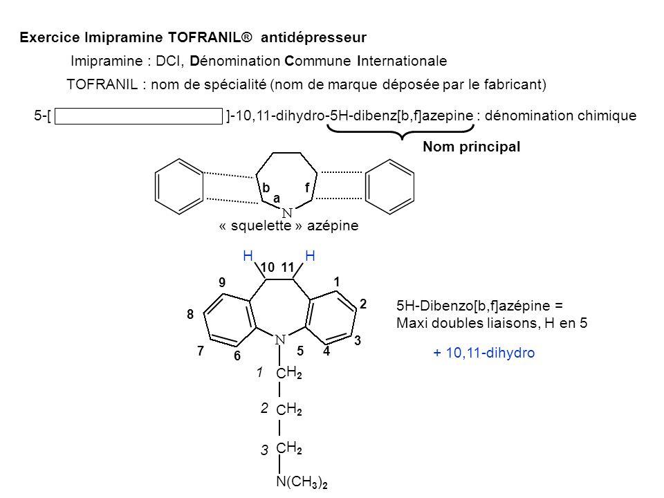 Exercice Imipramine TOFRANIL® antidépresseur