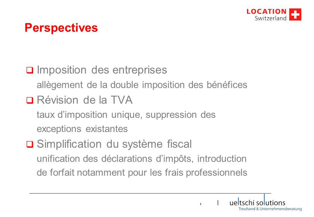 Perspectives Imposition des entreprises Révision de la TVA