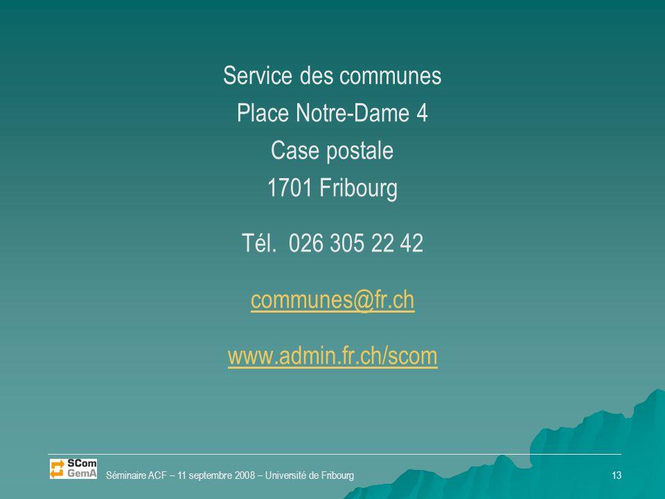 Service des communes Place Notre-Dame 4 Case postale 1701 Fribourg