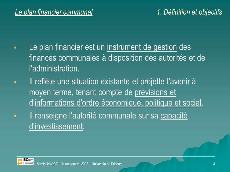 Le plan financier communal