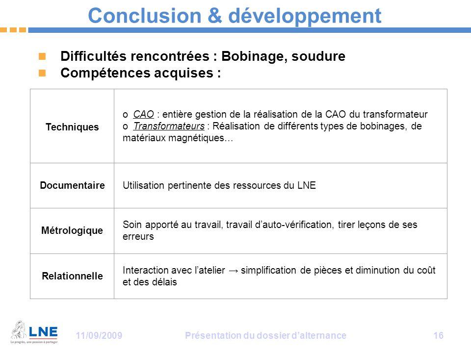 Conclusion & développement