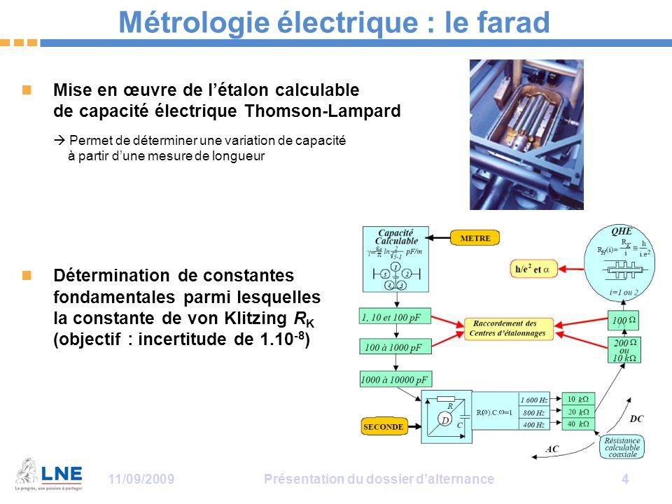 Métrologie électrique : le farad