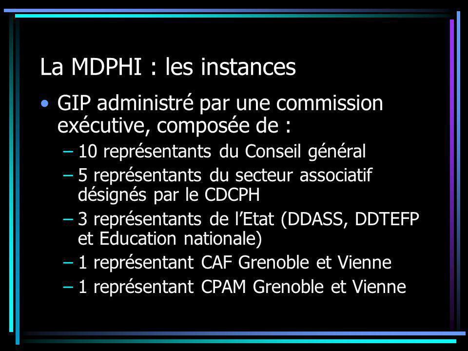 La MDPHI : les instances