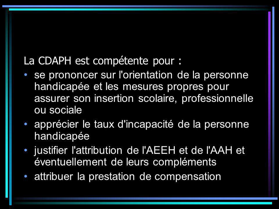 La CDAPH est compétente pour :