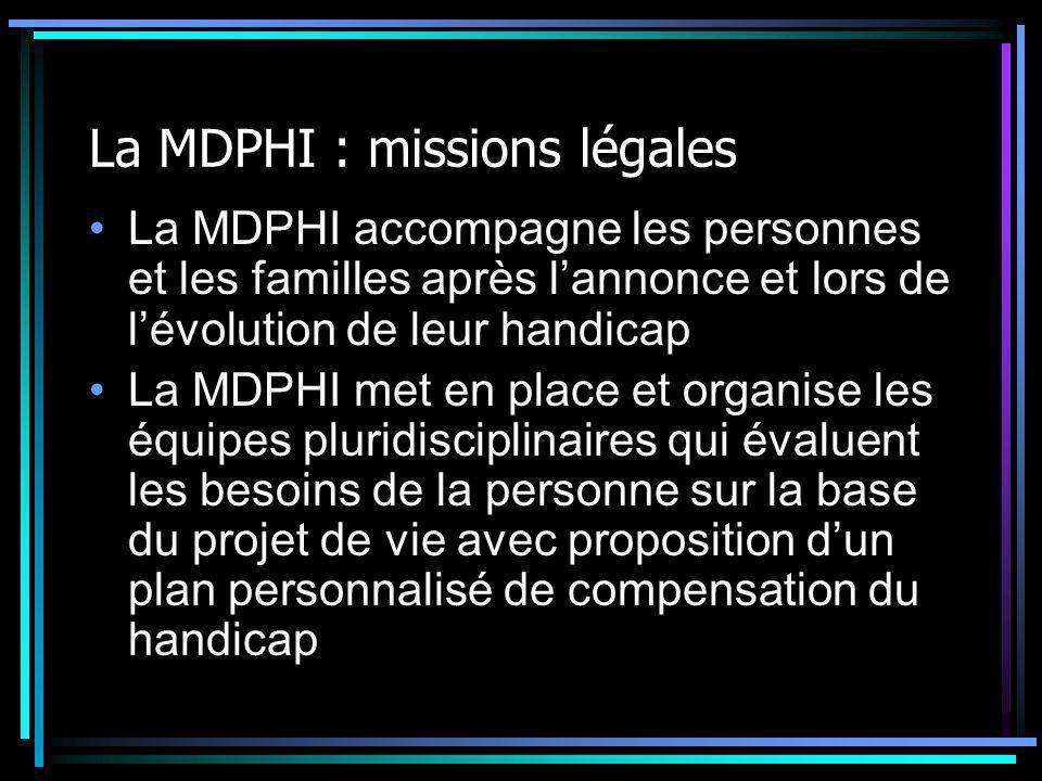 La MDPHI : missions légales