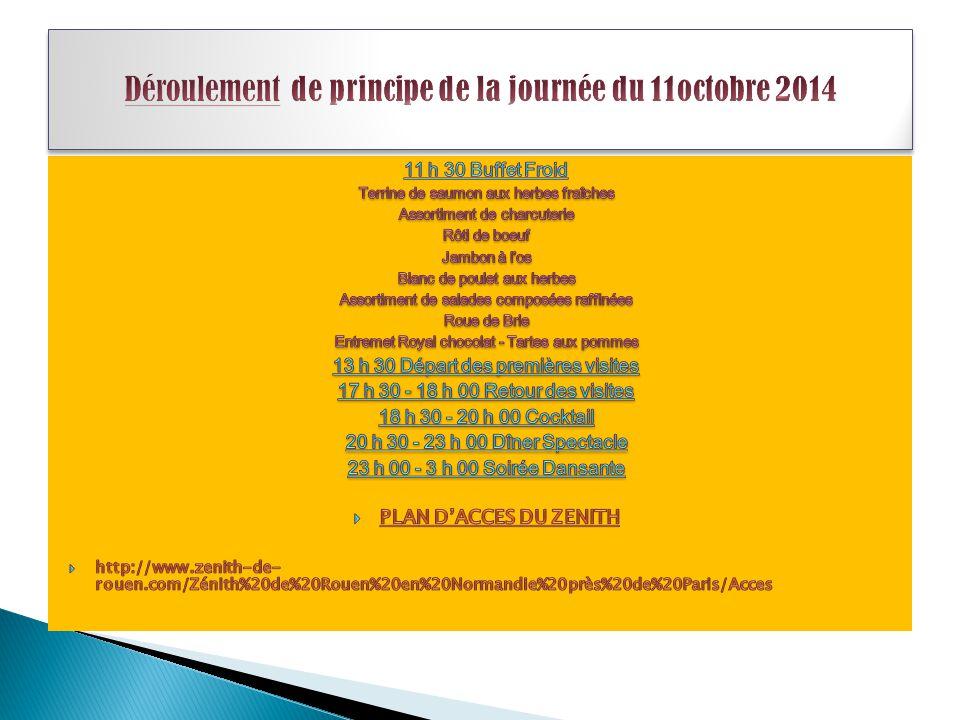 Déroulement de principe de la journée du 11octobre 2014