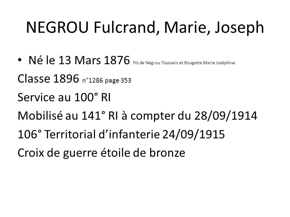 NEGROU Fulcrand, Marie, Joseph