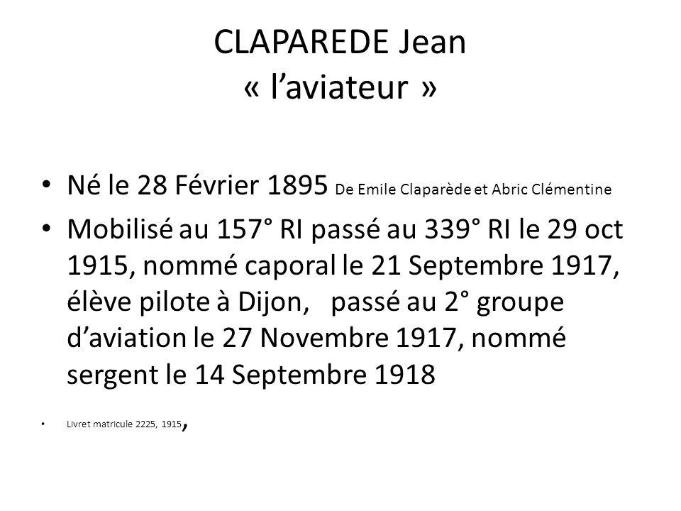 CLAPAREDE Jean « l'aviateur »