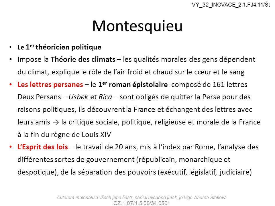 VY_32_INOVACE_2.1.FJ4.11/Št Montesquieu. Le 1er théoricien politique.