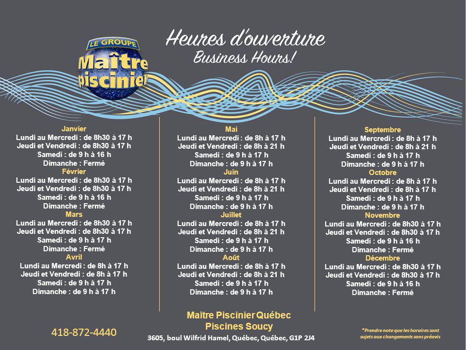 418-872-4440 Maître Piscinier Québec Piscines Soucy