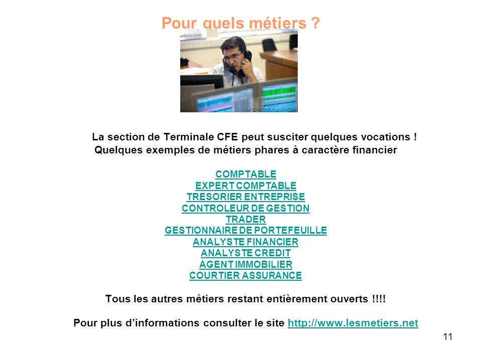 Pour quels métiers La section de Terminale CFE peut susciter quelques vocations ! Quelques exemples de métiers phares à caractère financier.