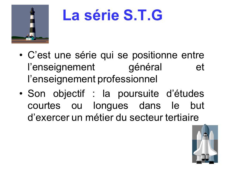 La série S.T.G C'est une série qui se positionne entre l'enseignement général et l'enseignement professionnel.