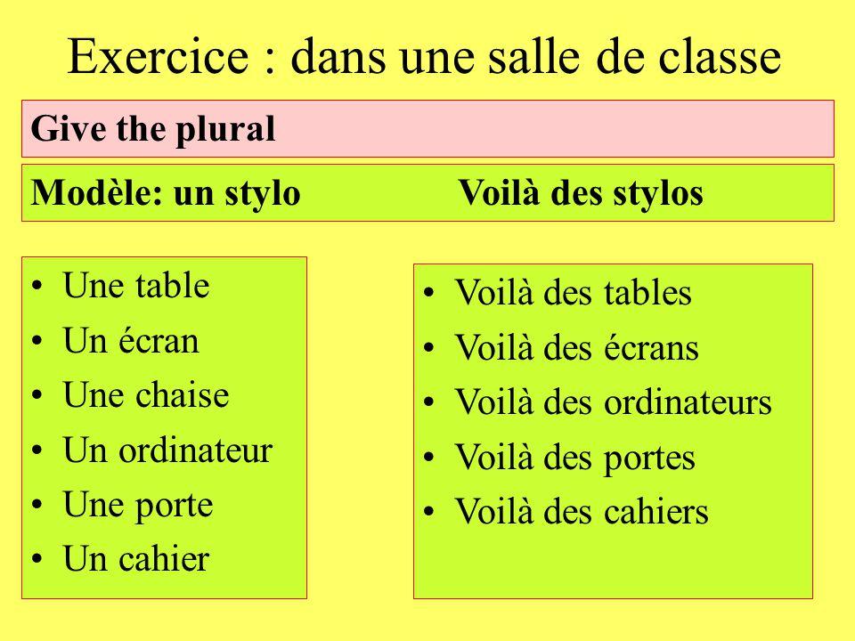 Exercice : dans une salle de classe