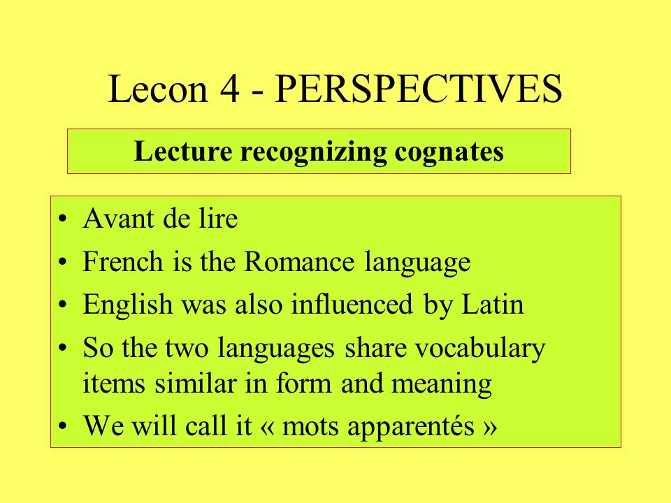 Lecture recognizing cognates
