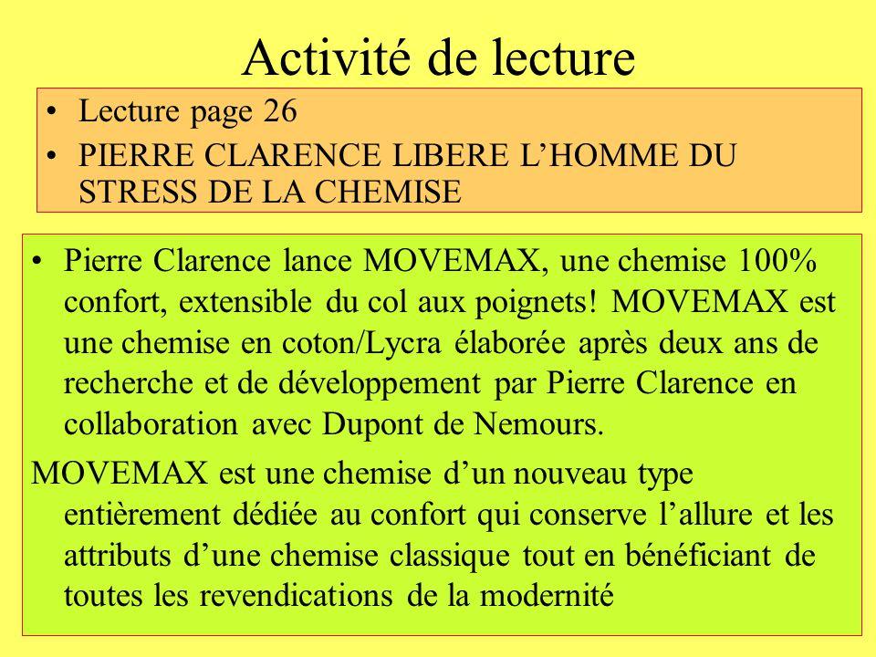 Activité de lecture Lecture page 26