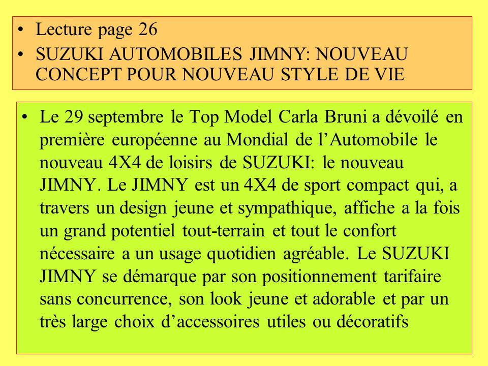 Lecture page 26 SUZUKI AUTOMOBILES JIMNY: NOUVEAU CONCEPT POUR NOUVEAU STYLE DE VIE.