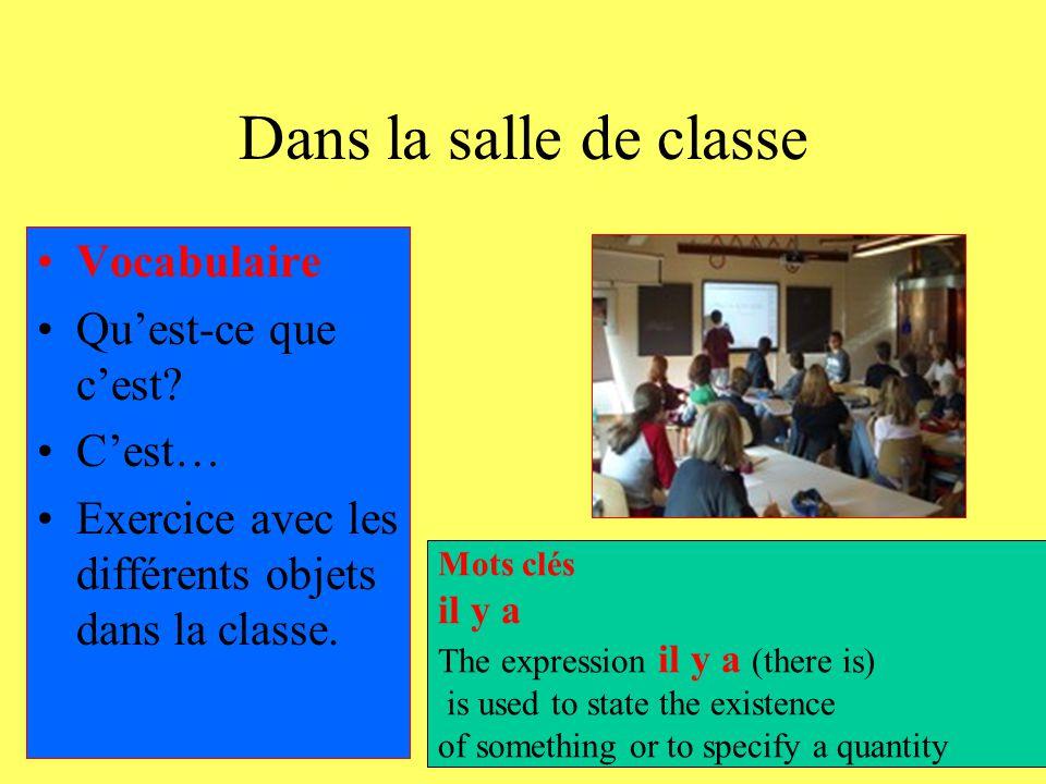 Dans la salle de classe Vocabulaire Qu'est-ce que c'est C'est…