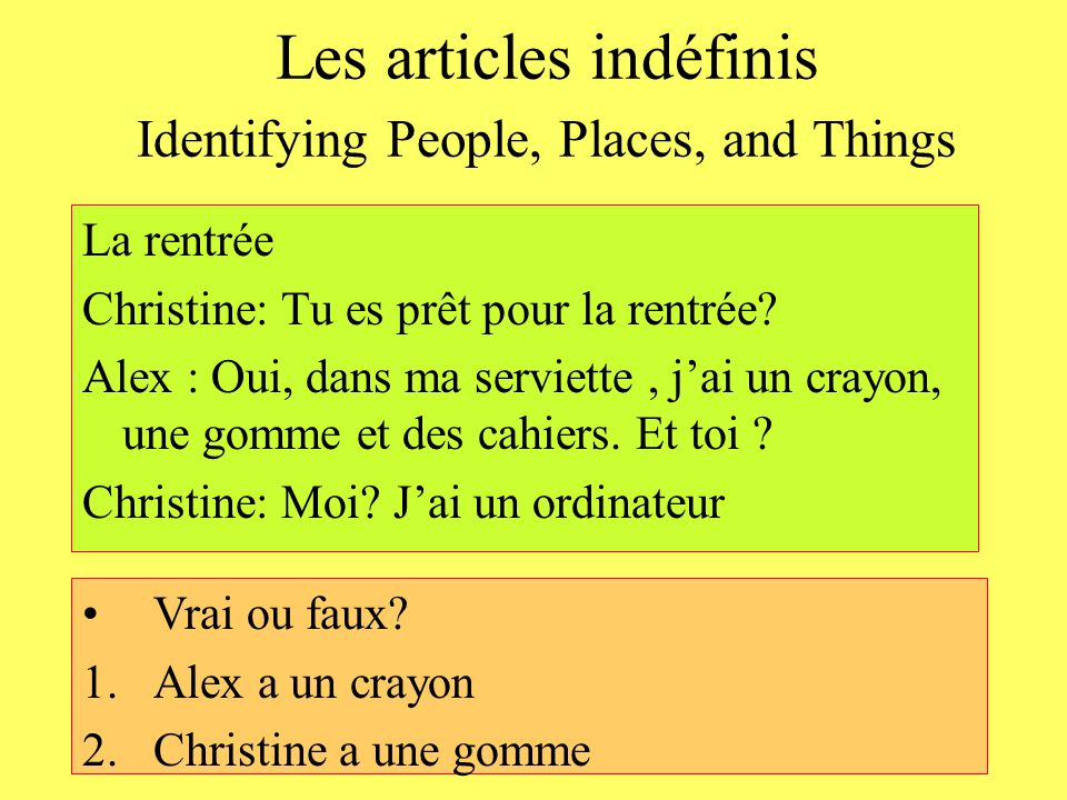 Les articles indéfinis Identifying People, Places, and Things