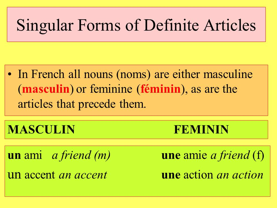 Singular Forms of Definite Articles