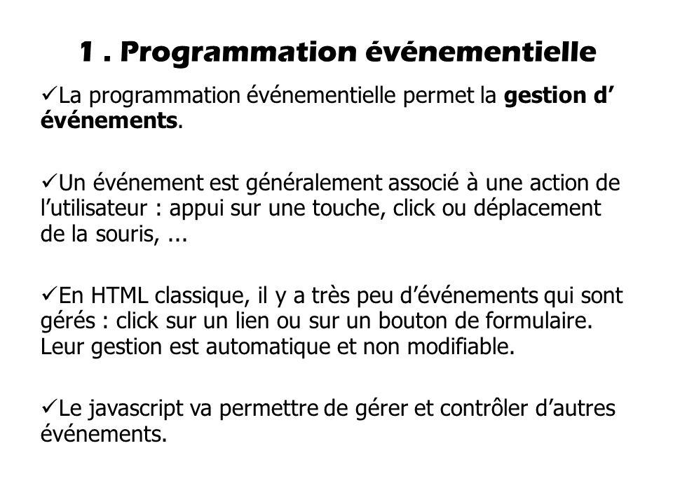 1 . Programmation événementielle