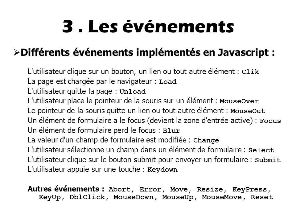 3 . Les événements Différents événements implémentés en Javascript :