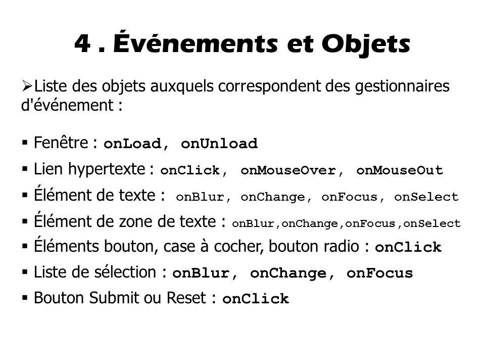 4 . Événements et Objets Liste des objets auxquels correspondent des gestionnaires d événement : Fenêtre : onLoad, onUnload.