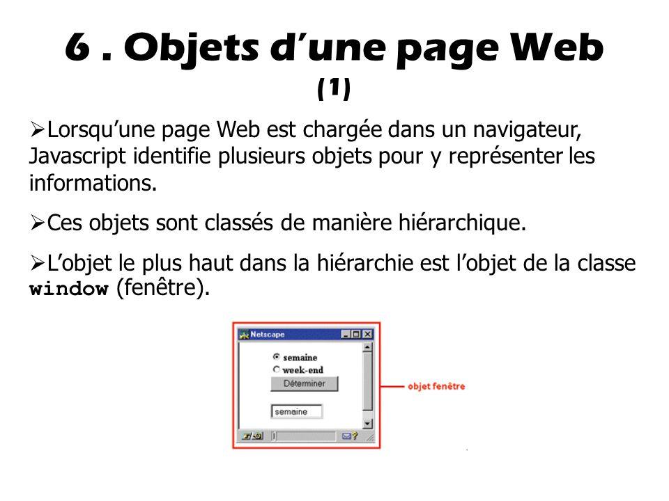 6 . Objets d'une page Web (1)