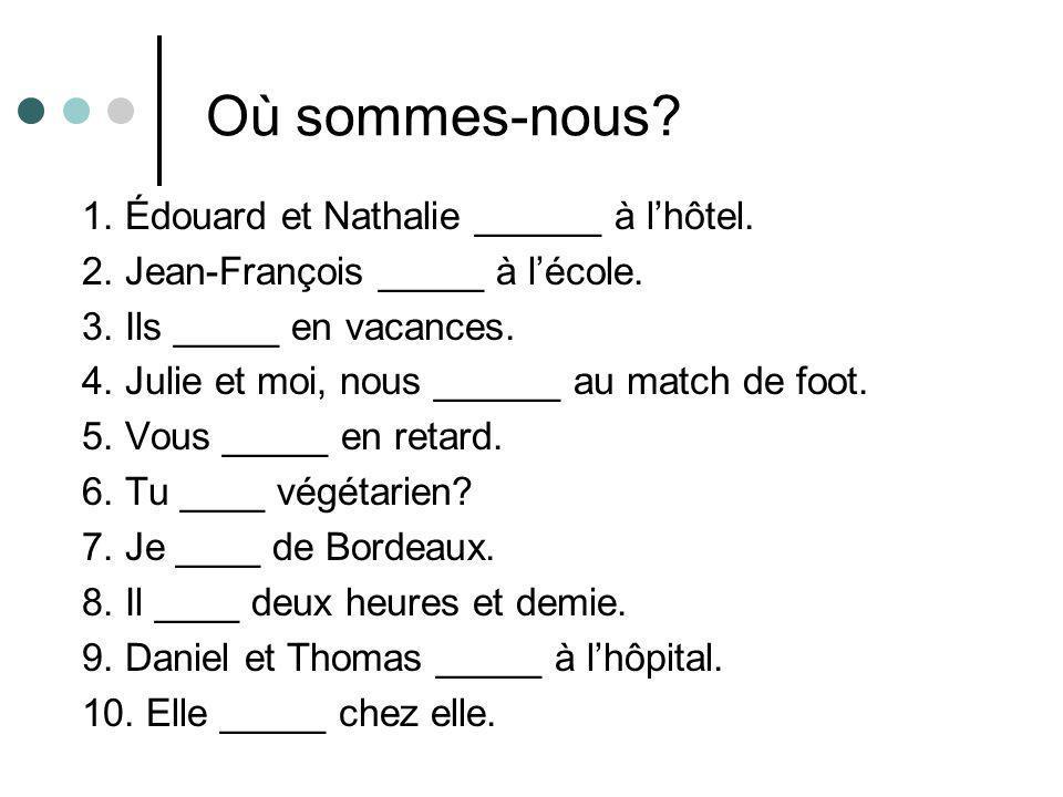 Où sommes-nous 1. Édouard et Nathalie ______ à l'hôtel.