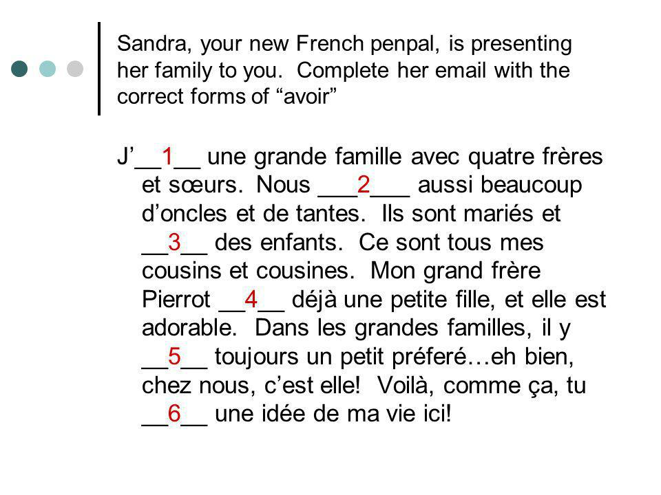 Sandra, your new French penpal, is presenting her family to you