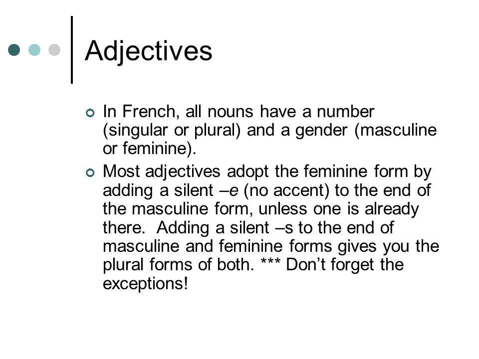 Adjectives In French, all nouns have a number (singular or plural) and a gender (masculine or feminine).