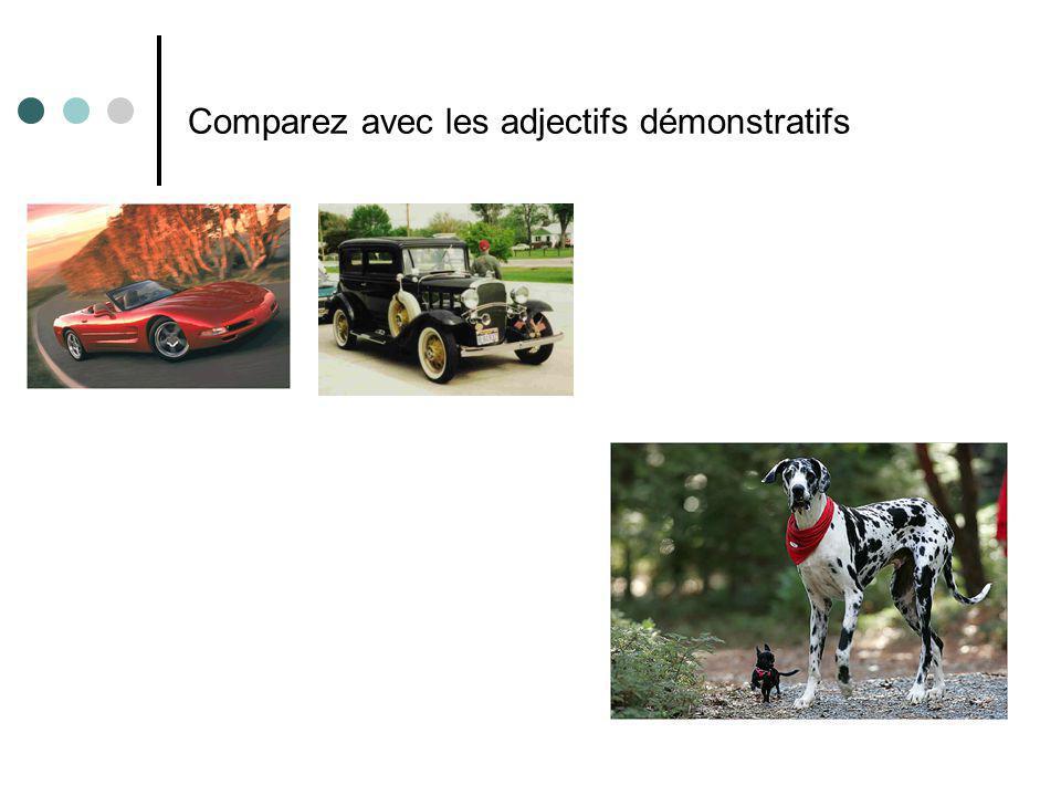 Comparez avec les adjectifs démonstratifs