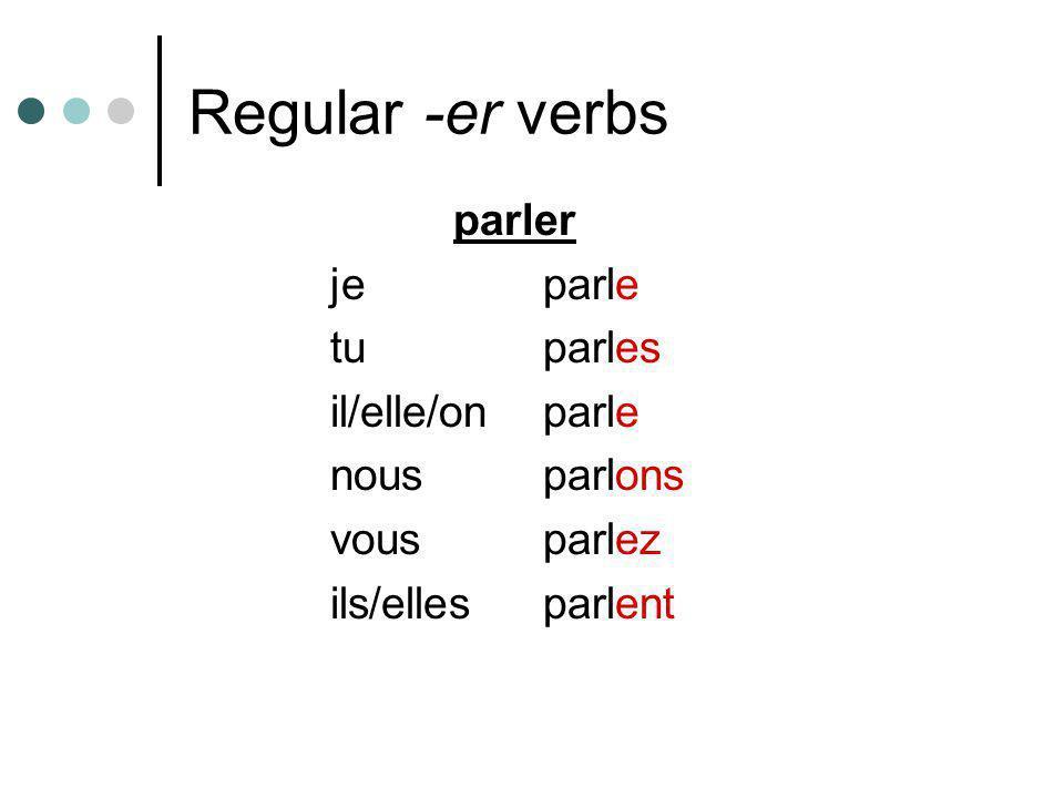 Regular -er verbs parler je parle tu parles il/elle/on parle