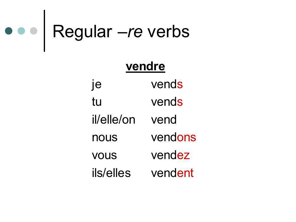 Regular –re verbs vendre je vends tu vends il/elle/on vend