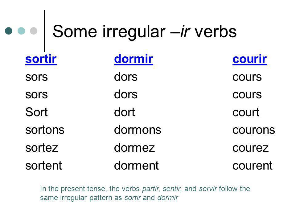 Some irregular –ir verbs