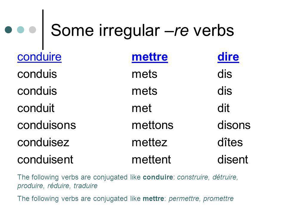 Some irregular –re verbs