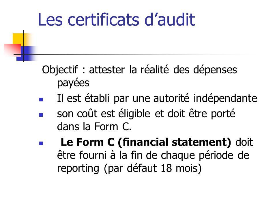 Les certificats d'audit