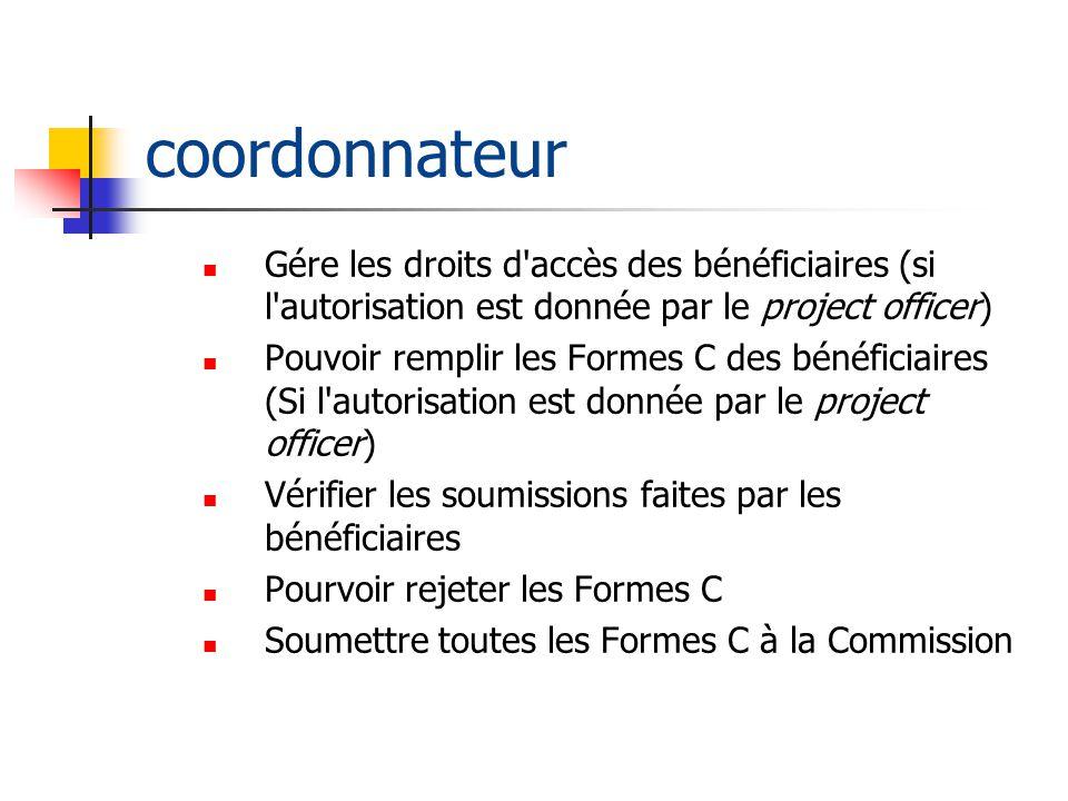 coordonnateur Gére les droits d accès des bénéficiaires (si l autorisation est donnée par le project officer)