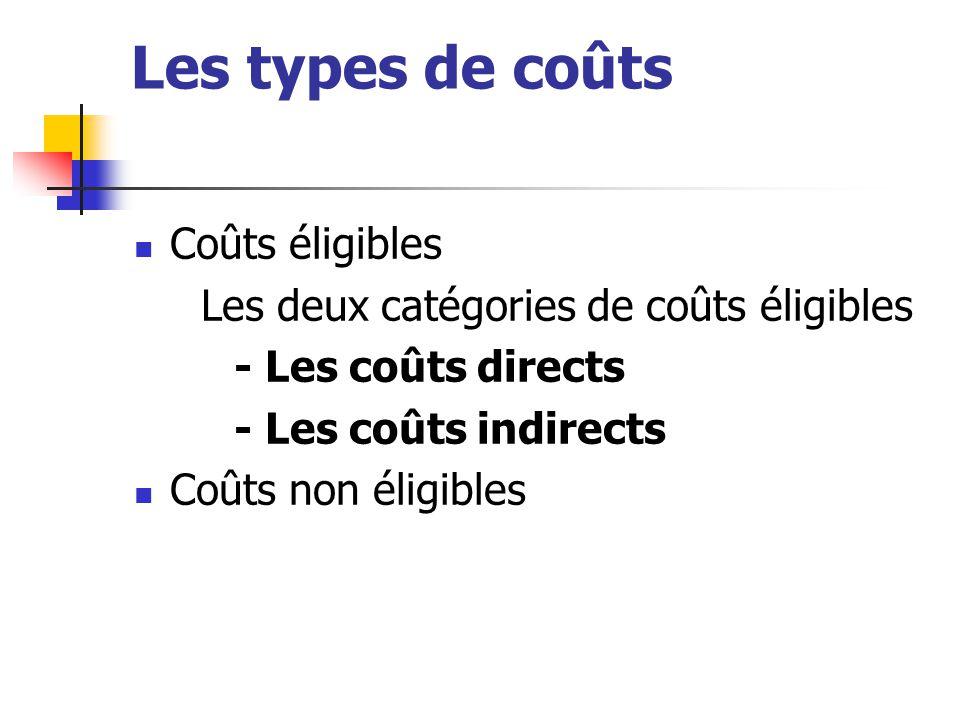 Les types de coûts Coûts éligibles